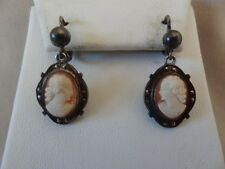 Lovely 1920's 800 Silver, Marcasite & CARVED SHELL CAMEO Pierced Earrings