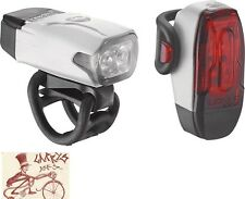 LEZYNE LED KTV DRIVE WHITE BICYCLE HEADLIGHT AND TAILLIGHT SET