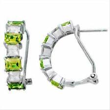 925 Silver Olive Green & White CZ Half Hoop Earrings