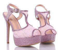 Fashion Open Toe Lace Slingbacks Womens High Heels Wedding Party Dress Shoes
