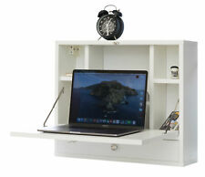Wall Mount Fold Out Office Laptop Writing Desk Table with Storage Shelves and Dr