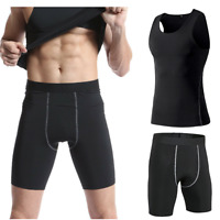 Men Gym Compression Base Layer Shorts Tights Running Tank Tops T-Shirt Sportwear