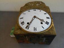 Petit mouvement horloge comtoise échappement arrière décor muse corne abondance
