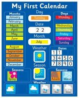 My First Magnetic Calendar - BLUE  also available in PINK . Rigid board 40 x 32c