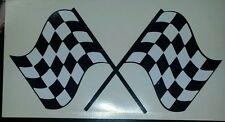 Dos banderas a cuadros de carreras-Blanco y Negro 20cm X 10cm Vinilo coche calcomanías decorativas