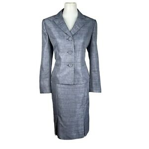 New LE SUIT Women 2PC Gray Metallic Polyester Lined Skirt Suit Size 12P