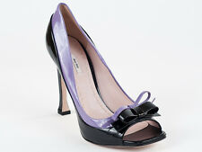New  Miu Miu by Prada Peep Toe Black&Purple Patent Lether Shoes Size 40 US 10