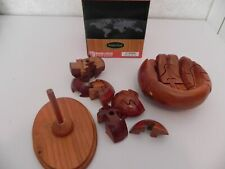 3D Handcrafted Wood Puzzle-Baseball Glove & Ball in Box w/Instructions