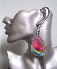 Beautiful Pink Thread Teardrop Earrings - Clip-on option