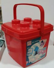 LEGO RED PLASTIC STORAGE BUCKET BOX WITH HANDLE EMPTY VINTAGE -CUBO LEGO ANTIGUO