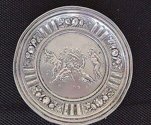 "5.5"" Antique Russian Sterling Silver 916/000 EH Decorative Cherubs Plate 76g"