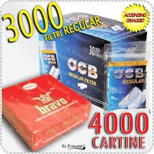 3000 Filtri OCB REGULAR 8mm + 4000 Cartine BRAVO REX FINISSIME CORTE Bianche