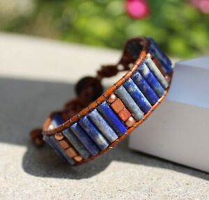 Men's Lapis and Copper Beaded Brown Leather Cuff Bracelet handmade NEW