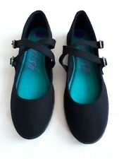Blowfish Malibu Women Size 8 1/2 Ballerina Flat Canvas Black Shoe NWOB