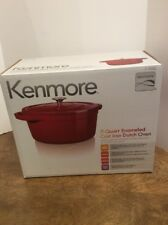 kenmore iron. cast iron dutch oven enameled round lid covered 7-qt. kenmore red 11-19252 n