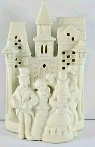 """Partylite Christmas Carolers Candle Holder 8"""" White Ceramic Tea Votive Dickens"""