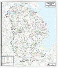 LINCOLNSHIRE COUNTY WALL MAP - COUNTY MAP SERIES - LINCOLNSHIRE
