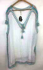Shoreline Womens Swimsuit Coverup Dress Size 2XL White Crochet Bohemian Beach