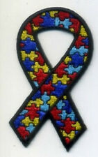 AUTISM AWARENESS RIBBON EMBROIDERED IRON ON BIKER PATCH