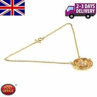 Harry Potter Hermione Granger Rotating Time Turner Necklace Gold Hourglass HE
