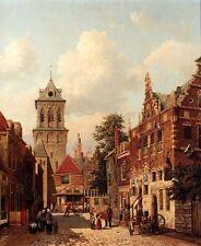 Art Oil painting Willem De Haas Hemken - A Busy Street in Town In Netherlands