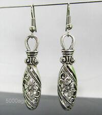 tibetan silver oval flower hollow ball dangle charm  earrings