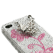 iPhone 4 4S - 3D Diamond Crystal Bling Case Cover Pink Flower Silver Butterfly