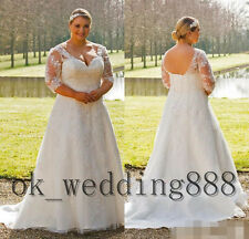 Plus Size Elegant A-line Wedding Dress Half Sleeve V Neck Corset Bridal Gown New