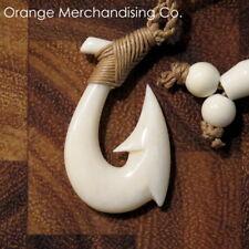 Hawaiian Fish Hook Buffalo Bone Necklace Maori Hei Matau Small Pendant Small A1