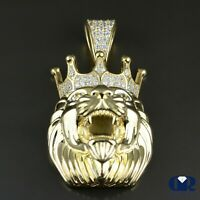 Men's 0.76 Ct Diamond Lion Head Pendant In 14K Solid Yellow Gold