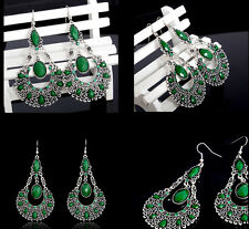 Lady Gold Tone European Vintage Emerald Green  Hollow Drop Dangle Earrings Women