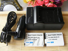 2 Battery + Charger for Nikon Coolpix AW100, AW110, AW120, AW120s Digital Camera
