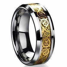Silver Gold Men's Dragon Fashion Wedding Engagement Titanium Stainless Rings