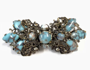 Vintage Czech Art Deco Silver Tone Turquoise Paste Brooch GIFT BOXED