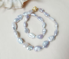 genuine Cultured reborn Keshi freshwater pearl necklace disco clasp 13-20mm