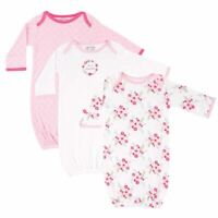 Luvable Friends Girl Sleep Gowns, 3-Pack, Pink Floral
