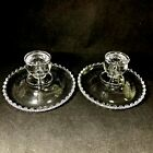 Pair Vintage Imperial Glass Candlewick Rolled Edge Candlesticks Candle Holders