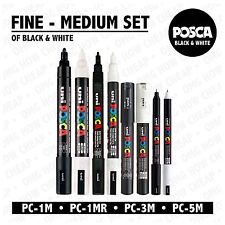 Posca Black & White - Fine to Medium Set of 8 Pens (PC-1MR, PC-1M, PC-3M, PC-5M)