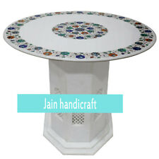 2' White Marble Table Top Center Coffee Home Room Inlay Malachite With Stand