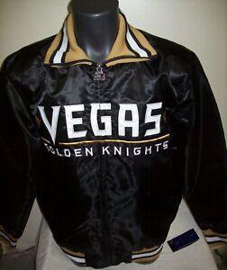 LAS VEGAS GOLDEN KNIGHTS Starter Jacket Full Zip BLACK Sewn Logos MEDIUM, LARGE