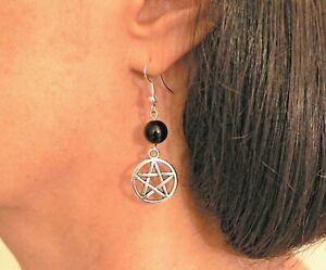 Pentacle & Black Onyx Earrings Silver-plated Fishhooks Pagan Wicca Lammas Gift