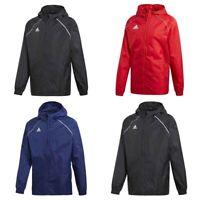 Adidas Boys Kids Core Rain Jacket Hooded Waterproof Coat Wind Breaker Black