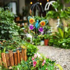 Polami Outdoor Solar Light Garden Stake - Decorative Metal Glass Butterfly Decor