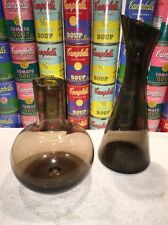 (2) Vintage Mid Century Modern Smoked Glass decanters 1950s 1960s Scandinavian ?