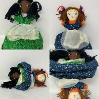 Vintage Handmade Black White Americana Topsy Turvy Flip Doll Multicultural 10""