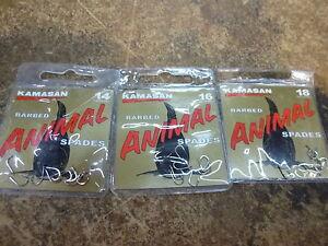 KAMASAN ANIMAL BARBED SPADE END HOOKS sz14/16/18 , barbel maggot feeder!!!