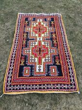 "Antique Tribal Nomad Moroccan Oriental Area Rug Wool Carpet Handmade 3'8"" x 6'.5"