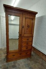 More details for late victorian aesthetic pitch pine wardrobe with ebonised detailing