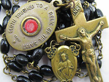 """† TOUCHED TO BODY OF """"ST ANN"""" BRASS RELIC MEDAL & ANTIQUE BLACK GLASS ROSARY †"""