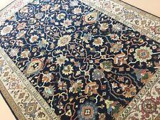 "Persian Oriental Rug Serapi Blue Beige Hand Knotted Geometric Wool 6'.0"" x 8'.7"""